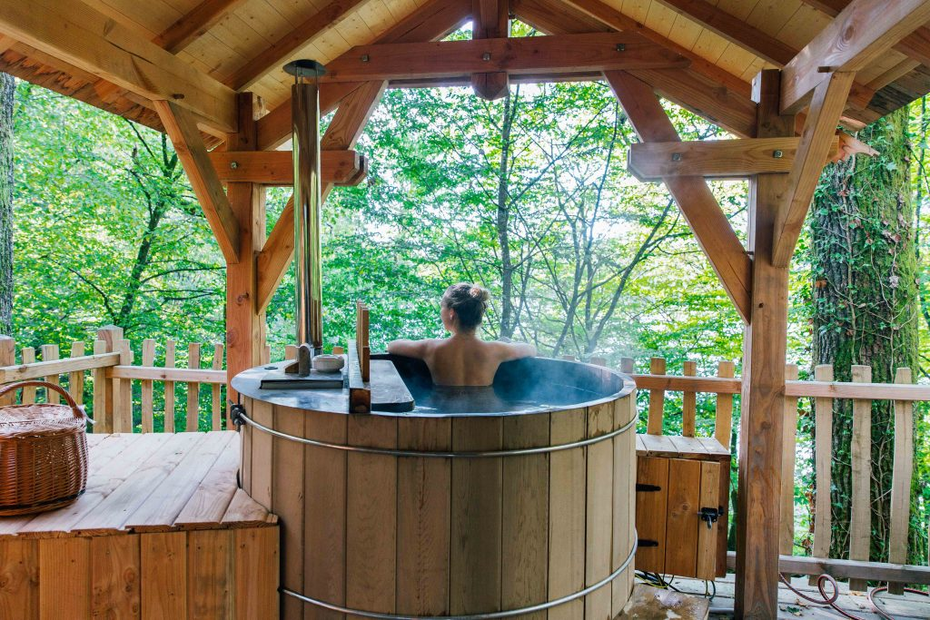 Hot tub inside Tree house in Alsace France