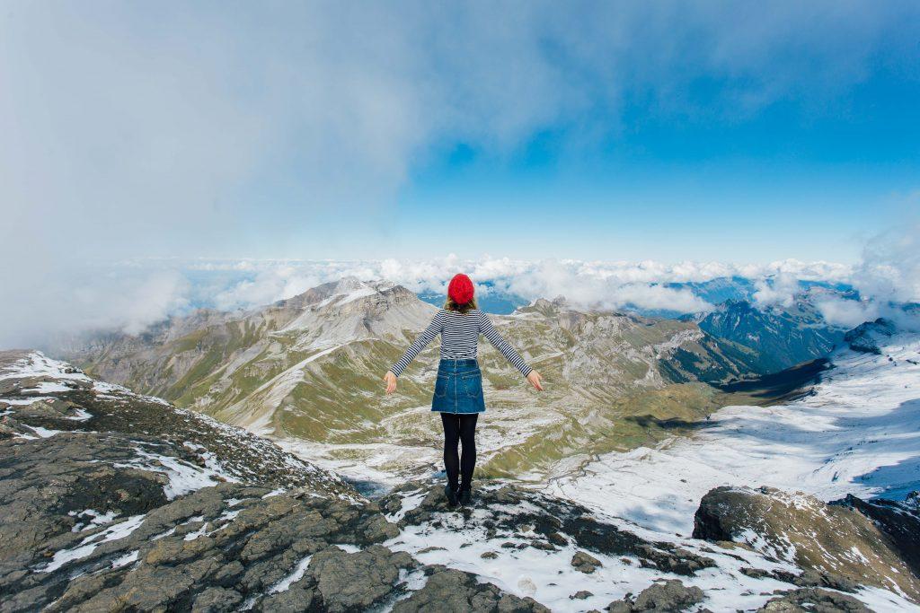 Girl in Mountains in Piz Gloria Switzerland